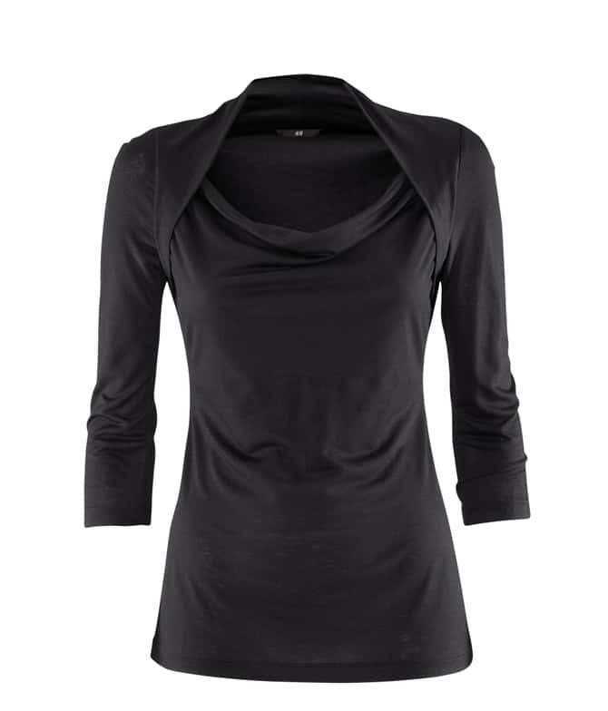 Black shrug neck three quarter length sleeve t shirt for Three quarter length shirt