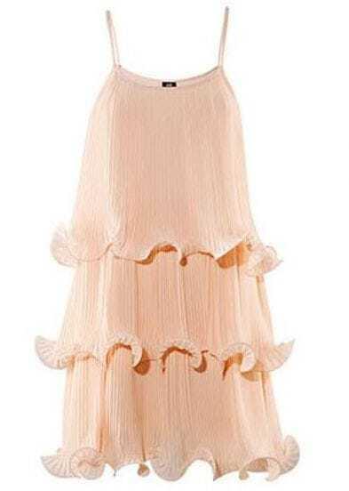 Pink Tiered Spaghetti Strap Chiffon Dress