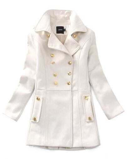 White Vintage Double Breasted Woolen Coat