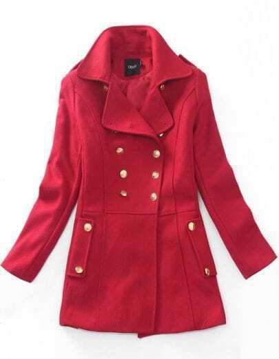 Vintage Double Breasted Woolen Coat Red