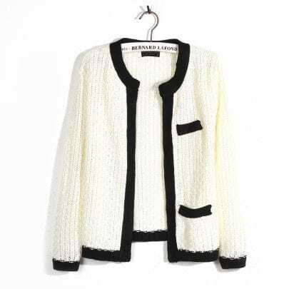 Elegant Black side White Cardigan