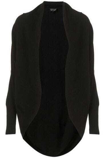 Loose Shawl Black Casual Sweater