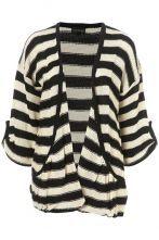 V-neck Black And White Stripes Cardigan Sweater
