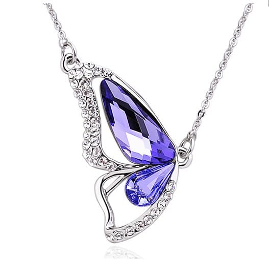 Purple Butterfly Swarovski Crystal Pendant Sterling Silver Necklace