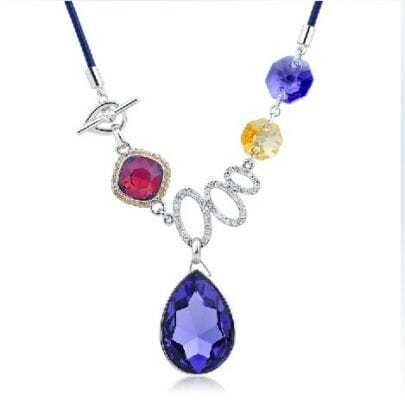 Purple Teardrop Crystal Pendant String Necklace