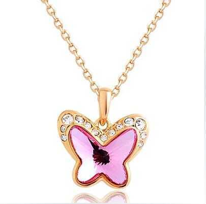 Pink Butterfly Crystal Pendant Gold Gilded Necklace