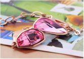 Pink Asymmetric Crystal Woman Link Bracelets