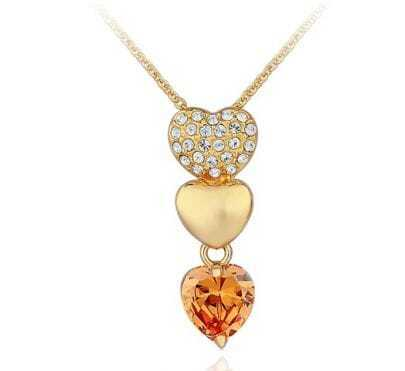 Orange Three-Heart Diamond Pendant Gold Gilded Necklace