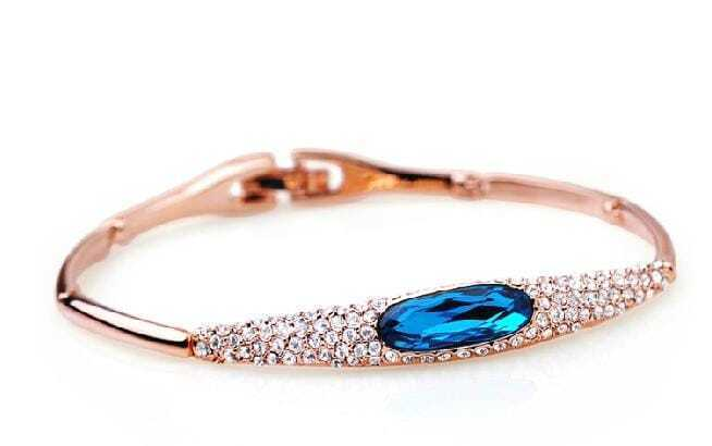 Blue Oval Swarovski Crystal Woman Bangle Bracelet