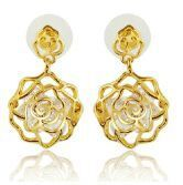 Champagne Gold Rose Gemstone Dangle Earrings