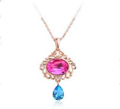 Pink Oval with Blue Teardrop Crystal Pendant Gold Gilded Necklace