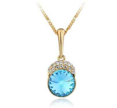 Blue Round Crystal Pendant Gilded Necklace