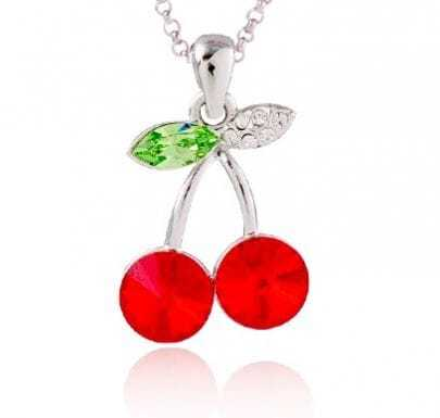 Red Cherry Crystal Pendant Sterling Silver Necklace