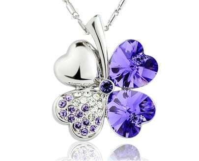 Purple Shamrock With Heart Crystal Pendant Sterling Silver Necklace