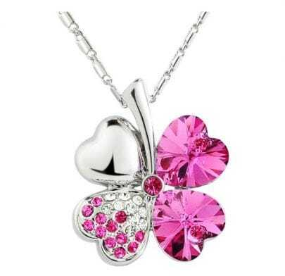 Rose Red Shamrock With Heart Crystal Pendant Sterling Silver Necklace
