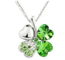 Green Shamrock With Heart Crystal Pendant Sterling Silver Necklace