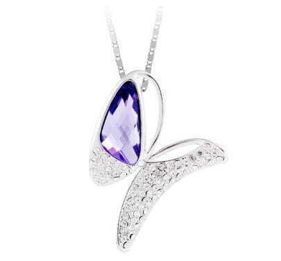 Purple Butterfly Crystal Pendant Sterling Silver Necklace