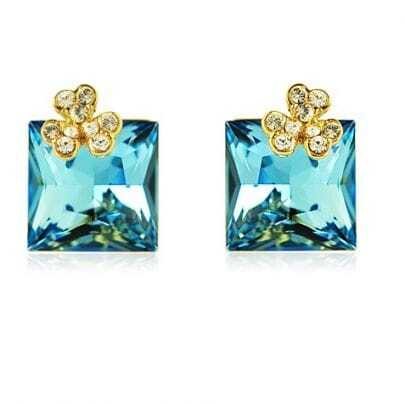 Light Blue Square Crystal With Shamrock Diamond Stud Earrings
