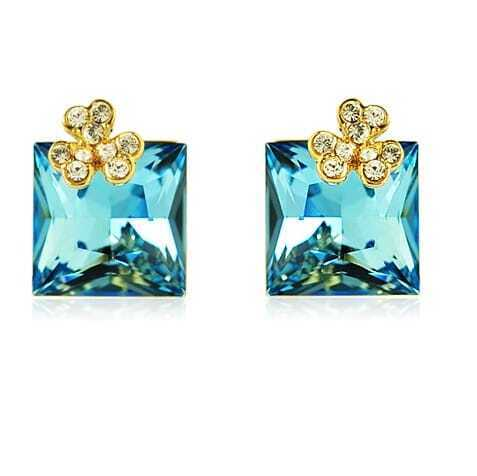 Light Blue Square Swarovski Crystal With Shamrock Diamond Stud Earrings