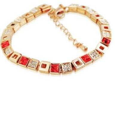 Red Cube Crystal Semi-Precious Stones Woman Link Bracelet