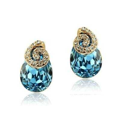 Blue Teardrop Crystal With Snail Diamond Stud Earrings