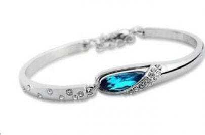 Blue Teardrop Crystal Woman Bangle Bracelet