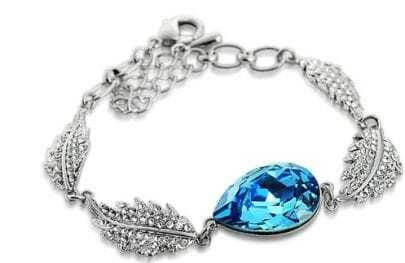 Blue Teardrop Crystal Woman Silver Angel Tears Link Bracelet
