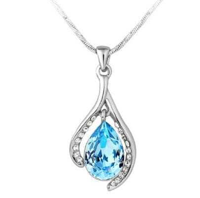Wishbone With Sky Blue Teardrop Crystal Pendant Sterling Silver Necklace