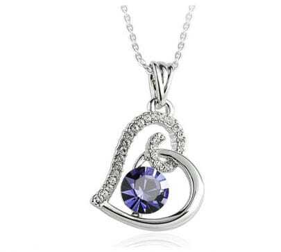 Heart With Purple Crystal Pendant Sterling Silver Necklace