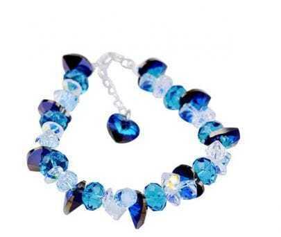 Blue Heart Crystal And Silver Gemstone Woman Link Bracelets