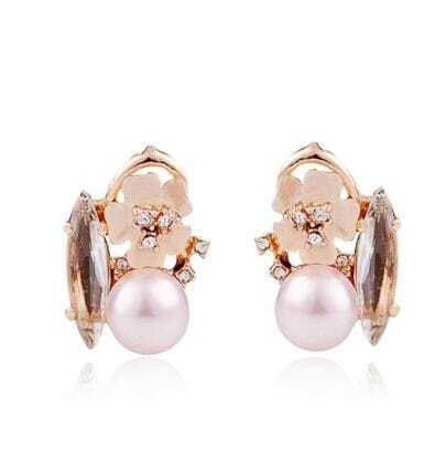 Gold Fish Czech Crystal Globe Pearl Shamrock With Diamond Stud Earrings