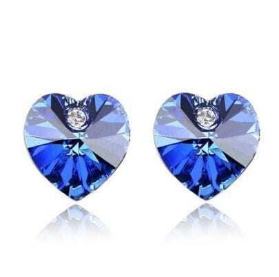 Blue Heart Crystal With Austrian Crystal Stud Earrings