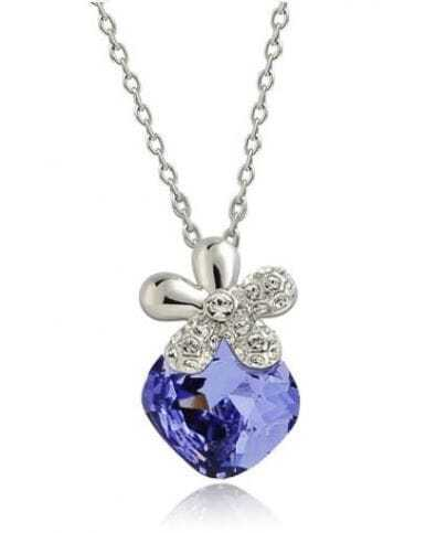 Purple Square Crystal Sterling Silver Flower Pendant Necklace