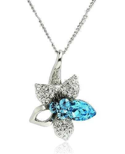 Blue Crystal Flower Pendant Sterling Silver Necklace