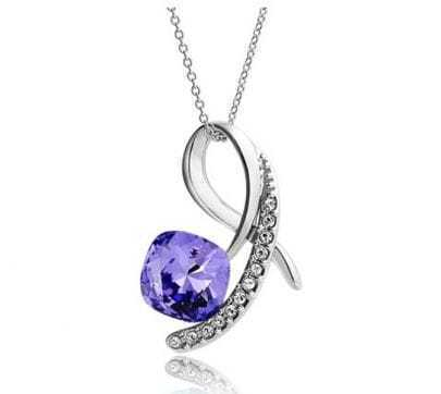 Purple Square Crystal Diamond Pendant Sterling Silver Necklace