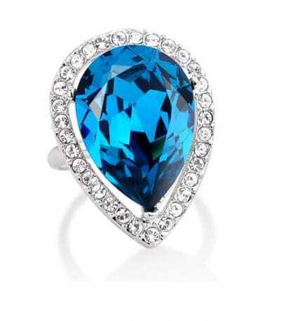 Blue Teardrop Crystal Mosaic Gemstone Woman Ring