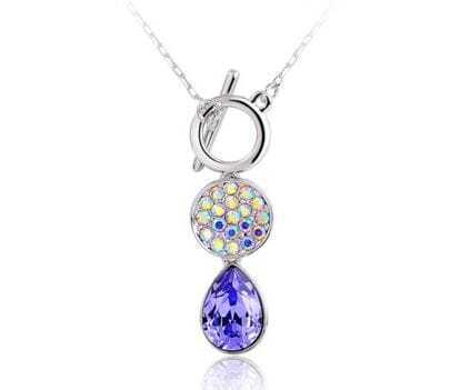 Purple Teardrop Crystal With Multicolor Diamond Pendant Sterling Silver Necklace