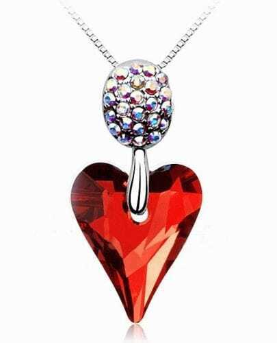 Red Heart Crystal Pendant