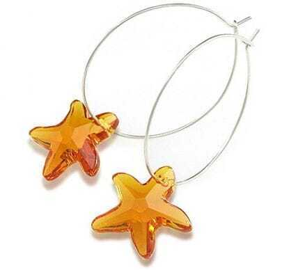 Champagne Gold Crystal Starfish Hoop Earrings