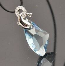 Silver Dolphin And Sky Blue Teardrop Crystal Pendant