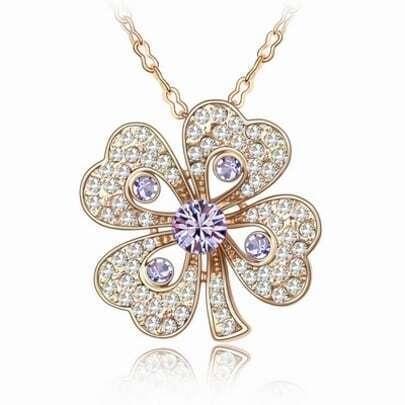 Austria Purple Diamond Shamrock Pendant Gilded Necklace