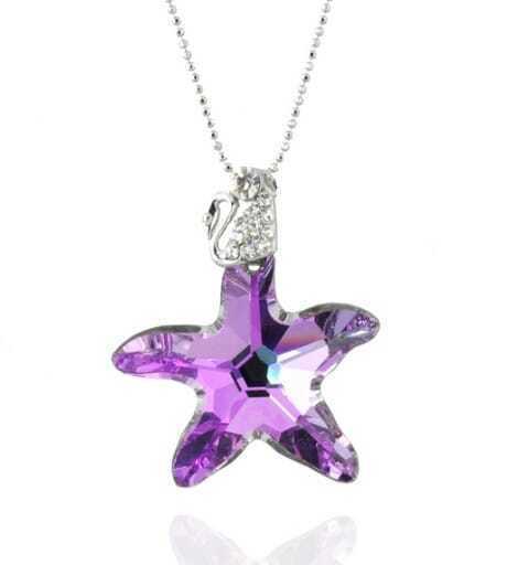 Purple Starfish Swarovski Austria Crystal Swan Pendant
