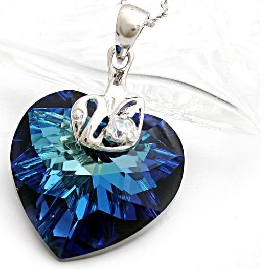 Sapphire Multi-Faceted Cut Heart Austria Swarovski Crystal With Silver Single Drill Swan Pendants