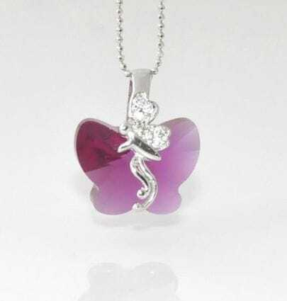 Rose Red Butterfly Crystal With Sterling Silver Fairy Pendant