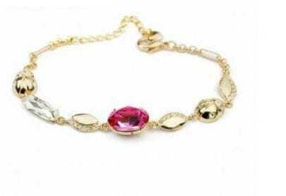 Red Oval Austria Crystal With Gold Plated Beatles Link Bracelets