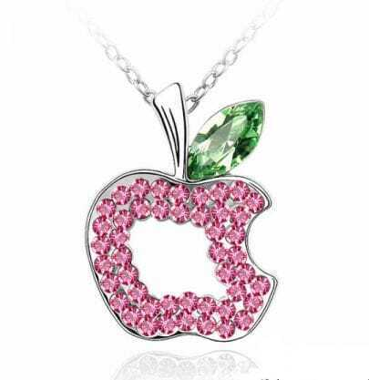 Pink Hollow Apple Green Austria Crystal Pendant