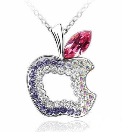 Multicolor Diamond Hollow Apple Red Austria Crystal Pendant