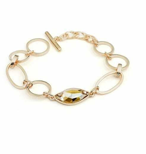 Gold Circle Austria Swarovski Crystal Gold Plated Link Bracelets