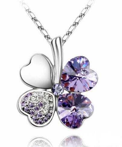 Purple Heart Austria Crystal Clover Pendant