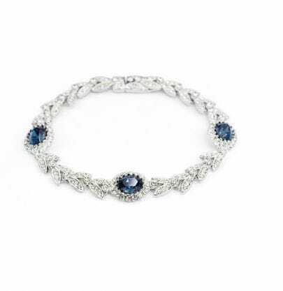 Sapphire Round Austria Crystal Silver Leaf Link Bracelets